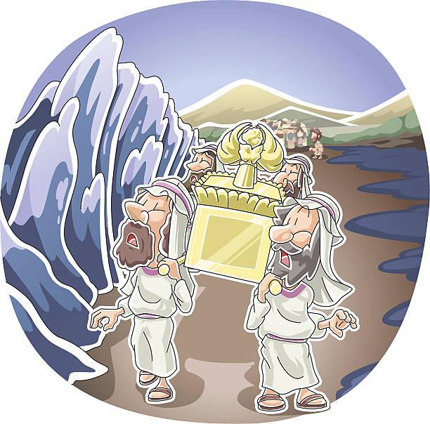 Crossing the Jordan river vector art illustration