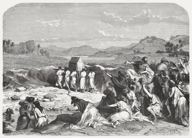 Crossing the Jordan (Joshua 3), wood engraving, published in 1886 vector art illustration
