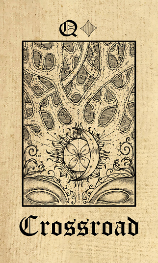 Crossroad. Tarot card from Lenormand Gothic Mysteries oracle deck.