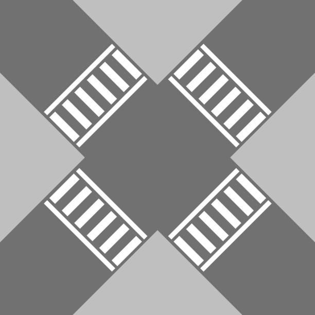 bildbanksillustrationer, clip art samt tecknat material och ikoner med övergångsställe - diagonala övergpångsställ