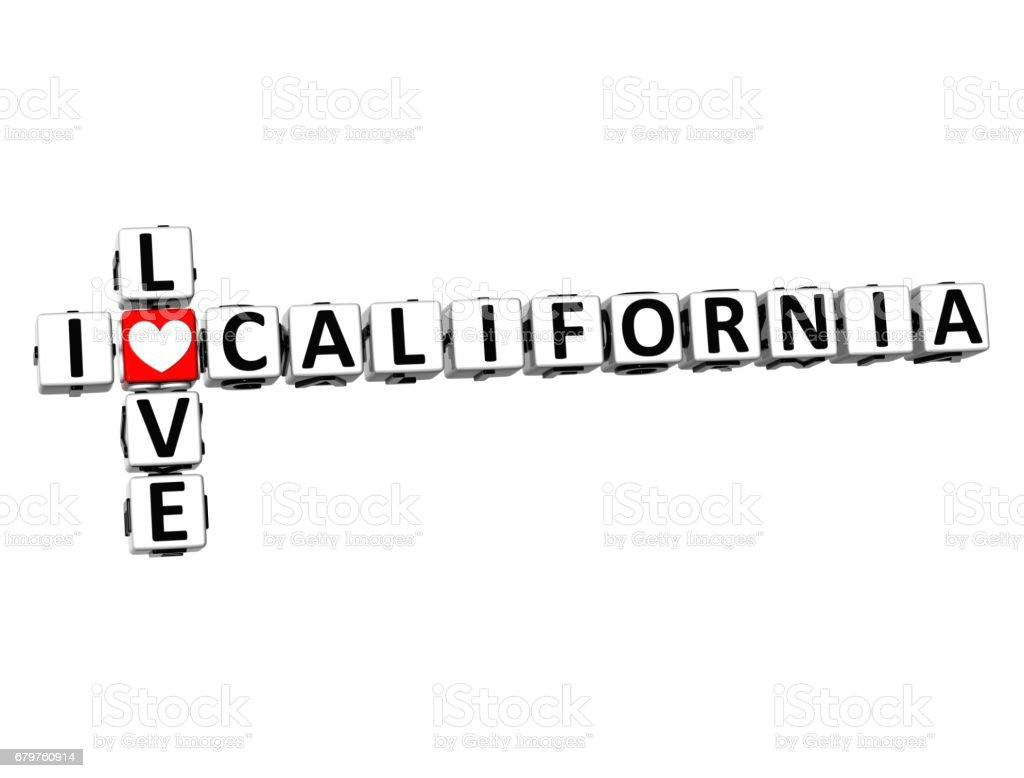 3D Crossword I love California on white background vector art illustration