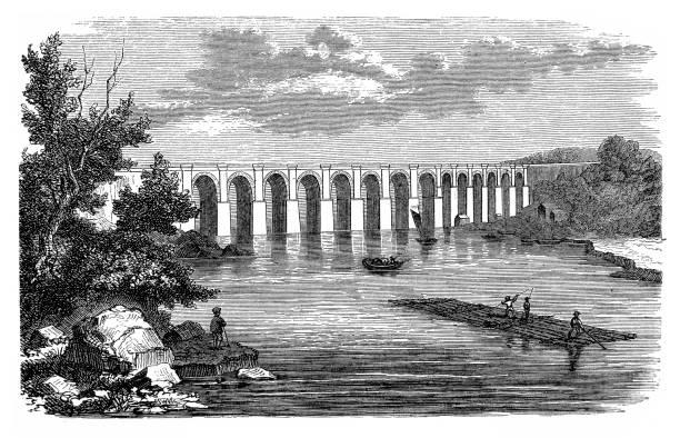 stockillustraties, clipart, cartoons en iconen met croton aqueduct - pont du gard