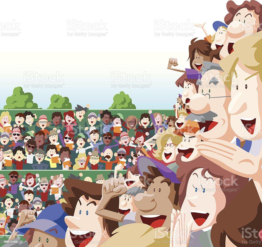 Толпа радость в Стадион мест на открытом воздухе - Векторная графика Большая группа людей роялти-фри