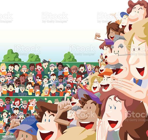 Crowd Cheering In Stadium Seats Outdoors-vektorgrafik och fler bilder på Barn