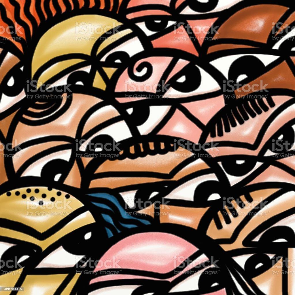 Foule de visages - Illustration vectorielle