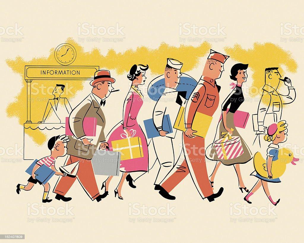 Crowd of People Walking royalty-free crowd of people walking stock vector art & more images of adult