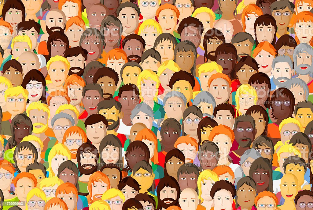 Crowd of young people smiling, cartoon design vector art illustration