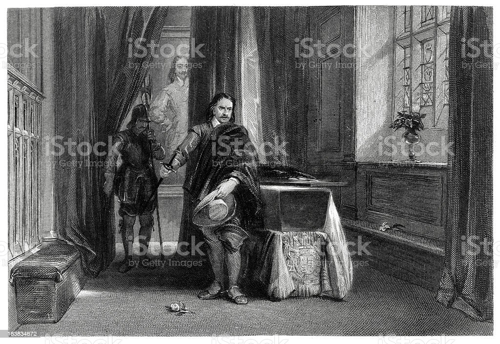 Crowmell viewing Charles I body vector art illustration
