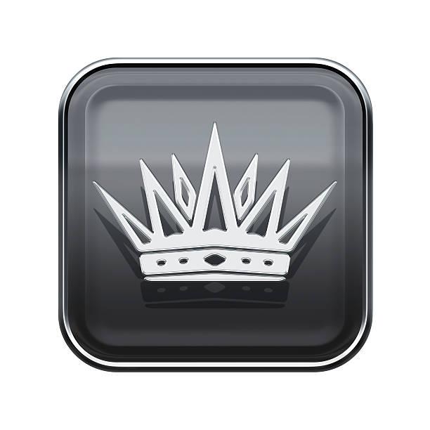 Crown Symbol glänzenden Grau, isoliert auf weißem Hintergrund – Vektorgrafik