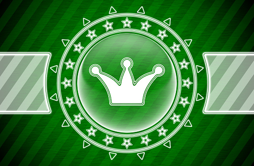 Crown icon in circle shape and green striped background. Illustration.