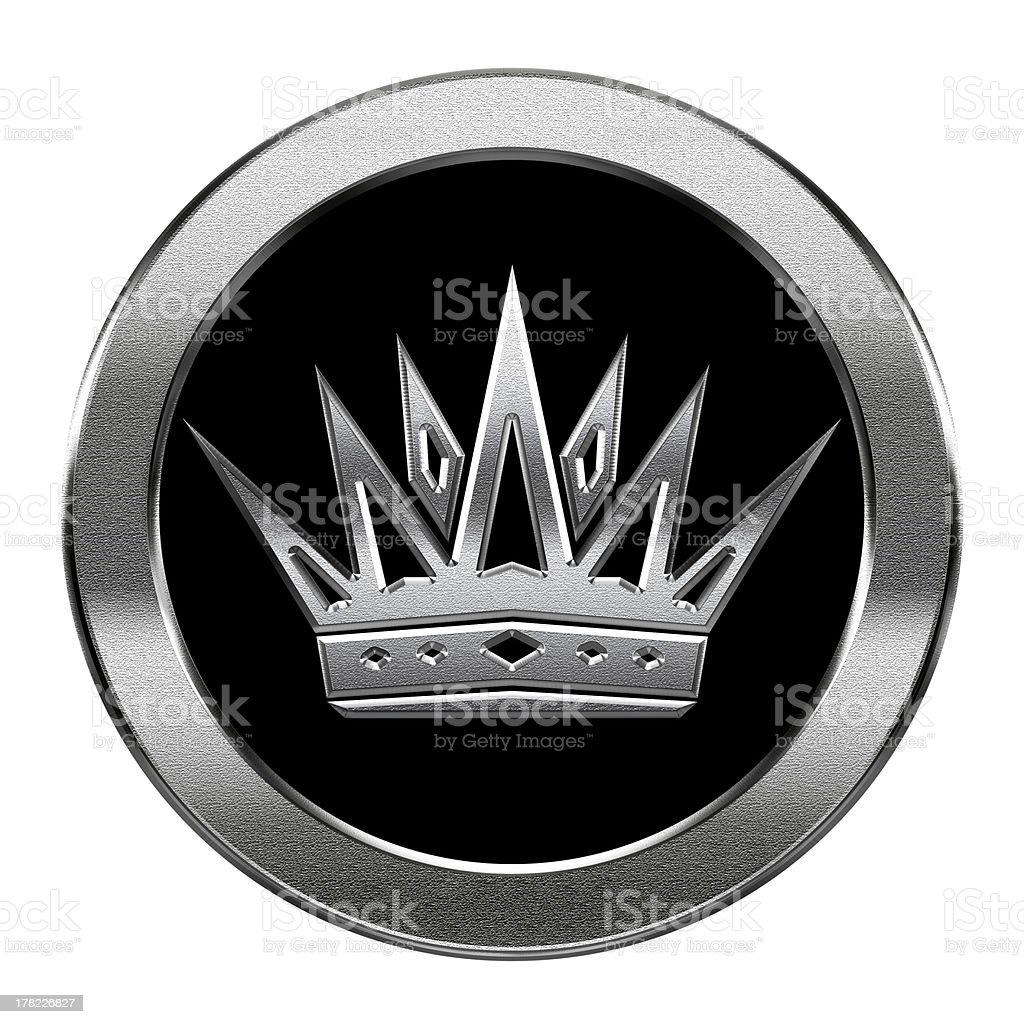 Crown icon silver, isolated on white background. royalty-free crown icon silver isolated on white background stock vector art & more images of black color