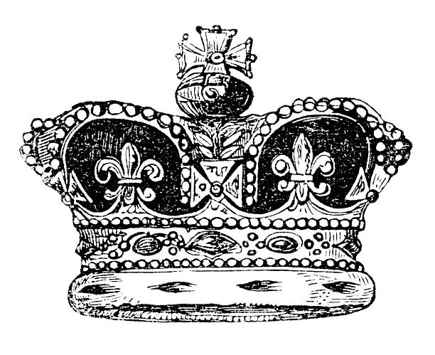 Crown of England An engraved vintage illustration image portrait of the British crown of England, from a Victorian book dated 1847 that is no longer in copyright ermine stock illustrations