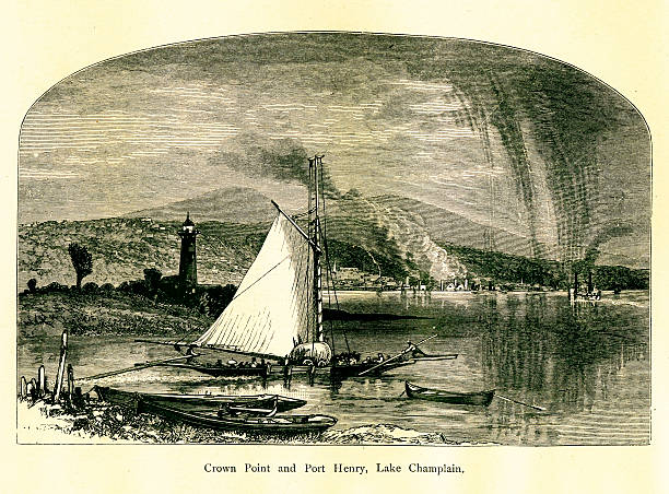 Crown Point and Port Henry, New York | Historic Illustrations vector art illustration