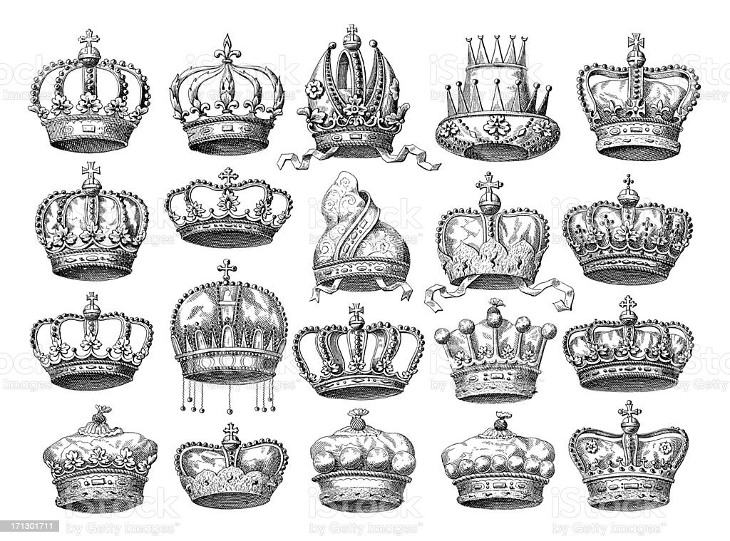 Crown Set | Historic Symbols of Monarchy and Rank vector art illustration