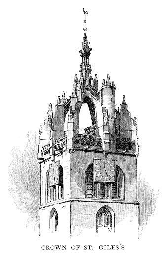 Crown Steeple of St Giles' Cathedral - Scanned 1890 Engraving
