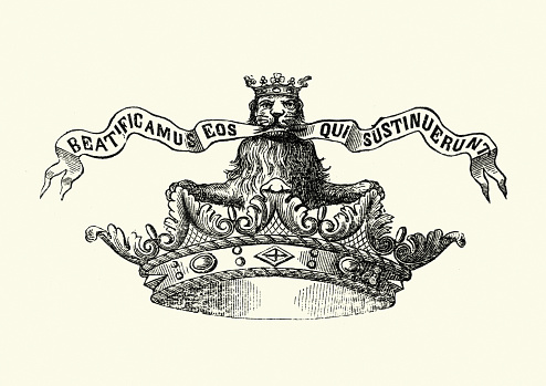 Crown with crowned lion holding croll in its mouth