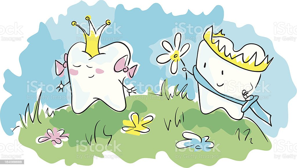 Crowned teeth royalty-free stock vector art