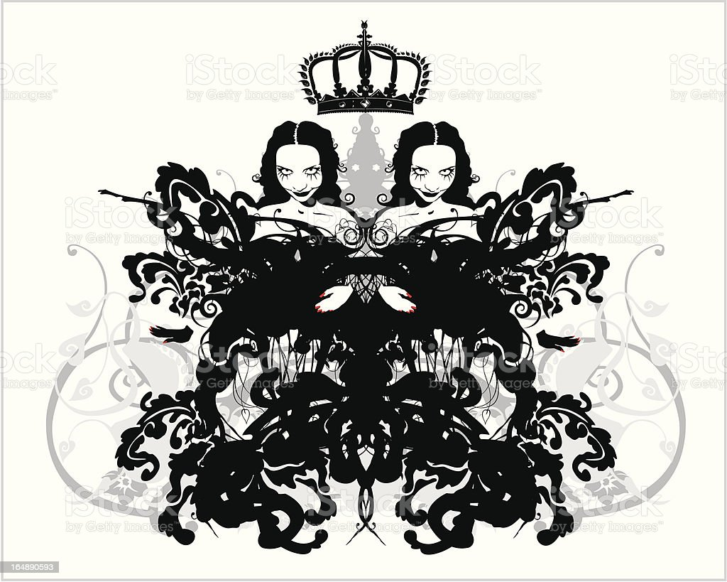 crowned twins royalty-free stock vector art