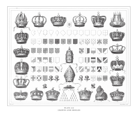 Crowns and Shields Engraving Antique Illustration, Published 1851
