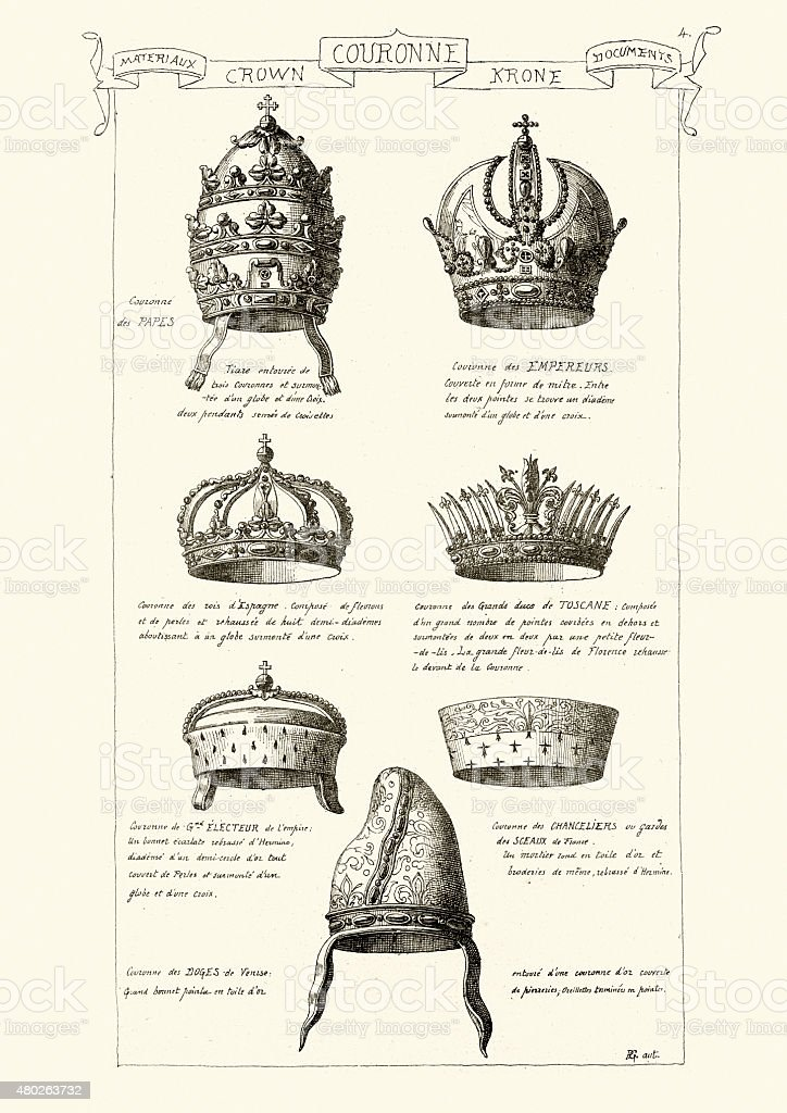 Crowns of Kings, Emperors, Popes and Doges vector art illustration