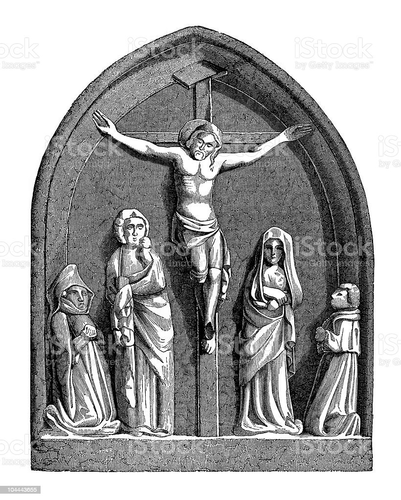 Crucifixion Altar in Church of St. Julian the Poor royalty-free stock vector art
