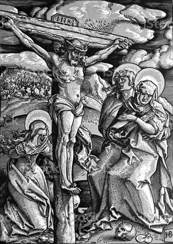 Crucifixion of Christ, 3 women standing aside the cross, mourning vector art illustration