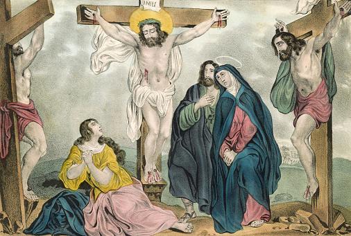 Vintage Biblical illustration depicts the Crucifixion of Jesus Christ.