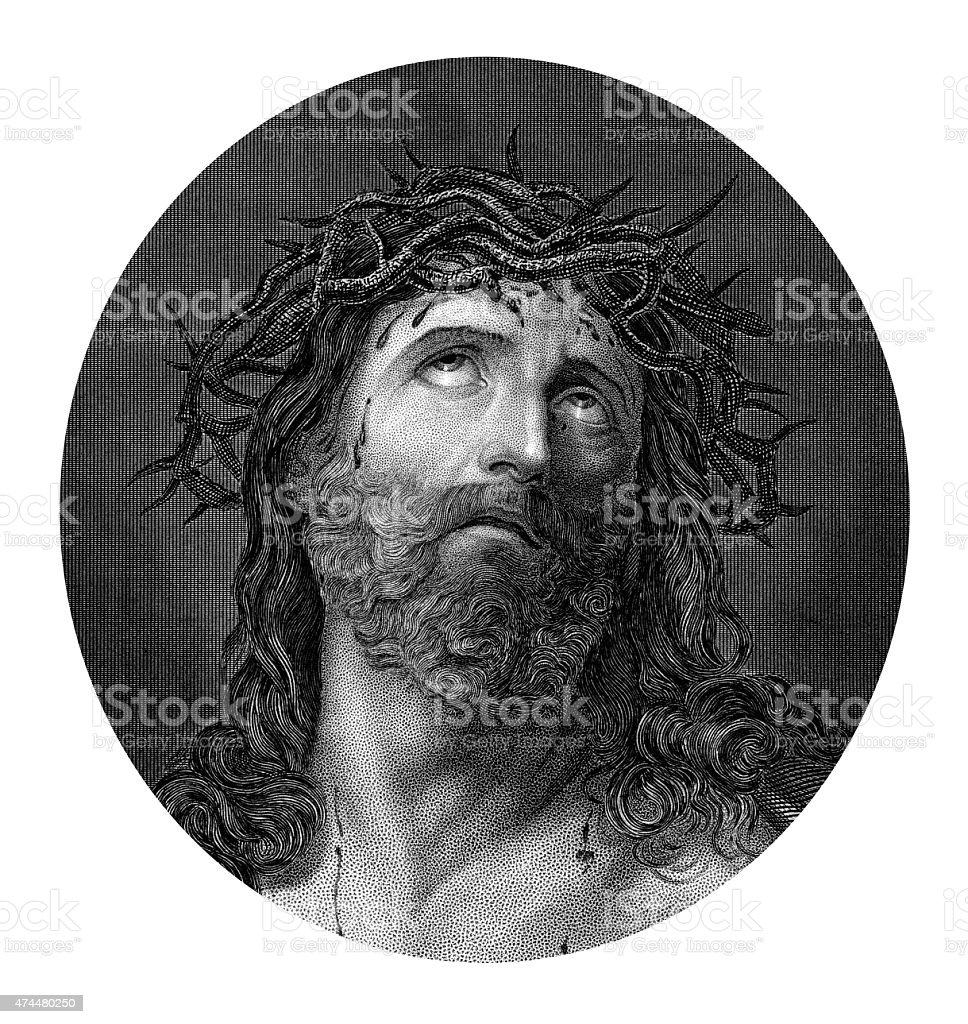 Crucifixion of Jesus Christ wearing the crown of thorns vector art illustration