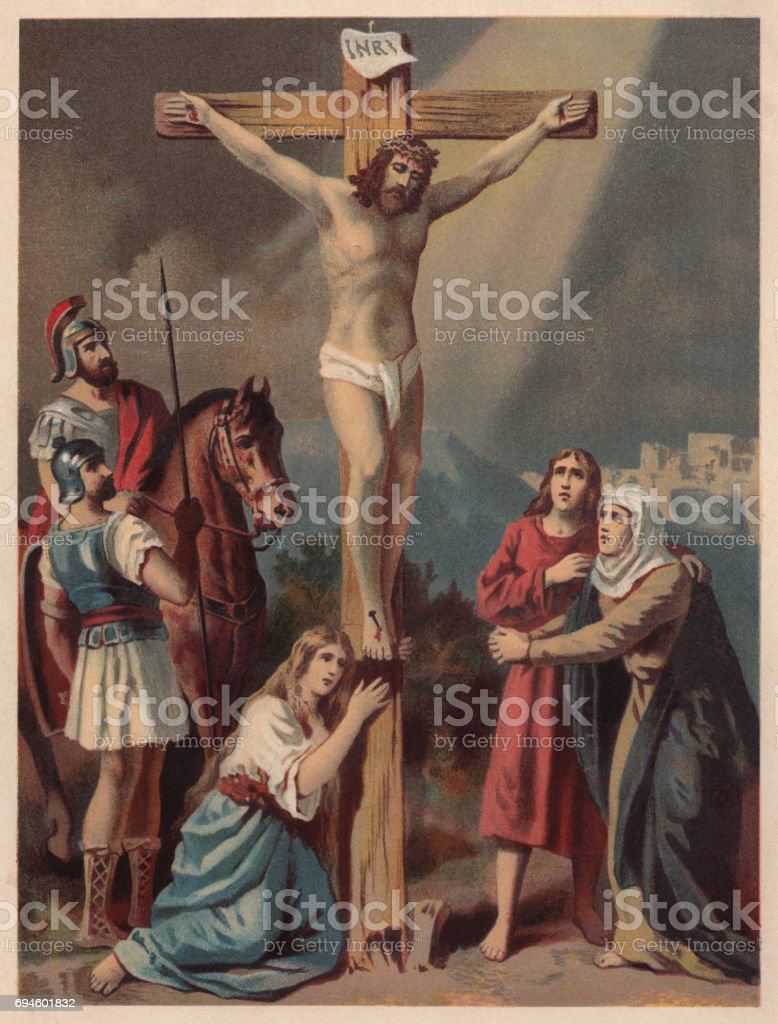 Crucifixion of Jesus, chromolithograph, published in 1886 vector art illustration