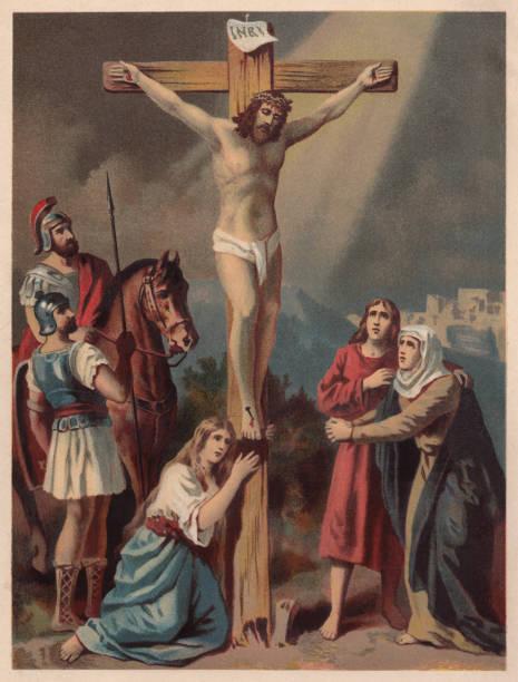 ilustrações de stock, clip art, desenhos animados e ícones de crucifixion of jesus, chromolithograph, published in 1886 - jesus cristo