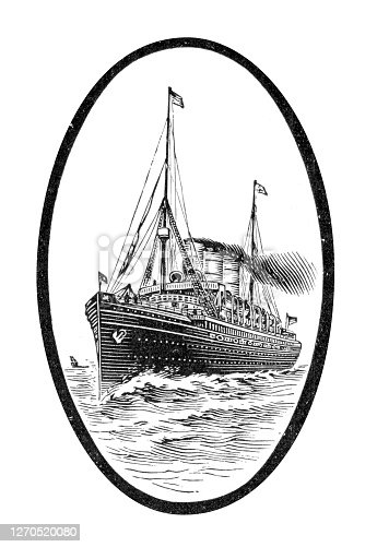Cruiseship illustration 1899 This renowned steamship was named after the German empress Auguste Victoria. As the biggest passenger ship in Germany at the time, in 1891 she set out under the HAPAG flag on the world's first