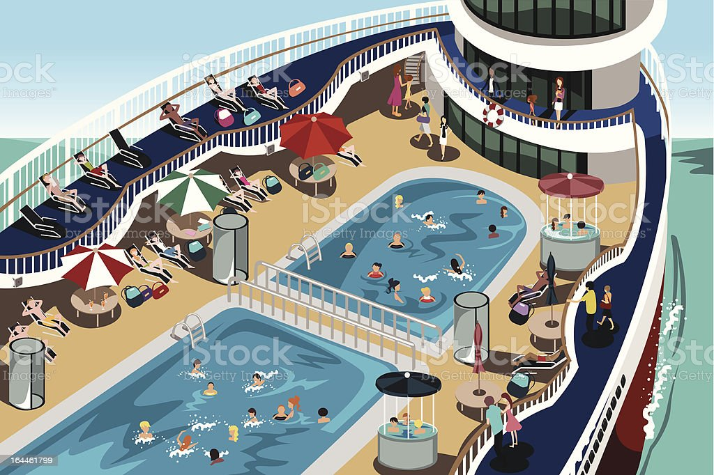 Cruise vacation vector art illustration