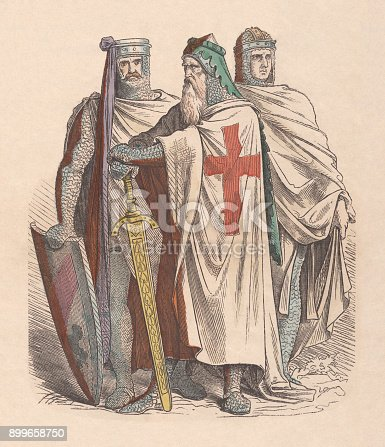 istock Crusaders, c. 13th century, hand-colored wood engraving, published c. 1880 899658750