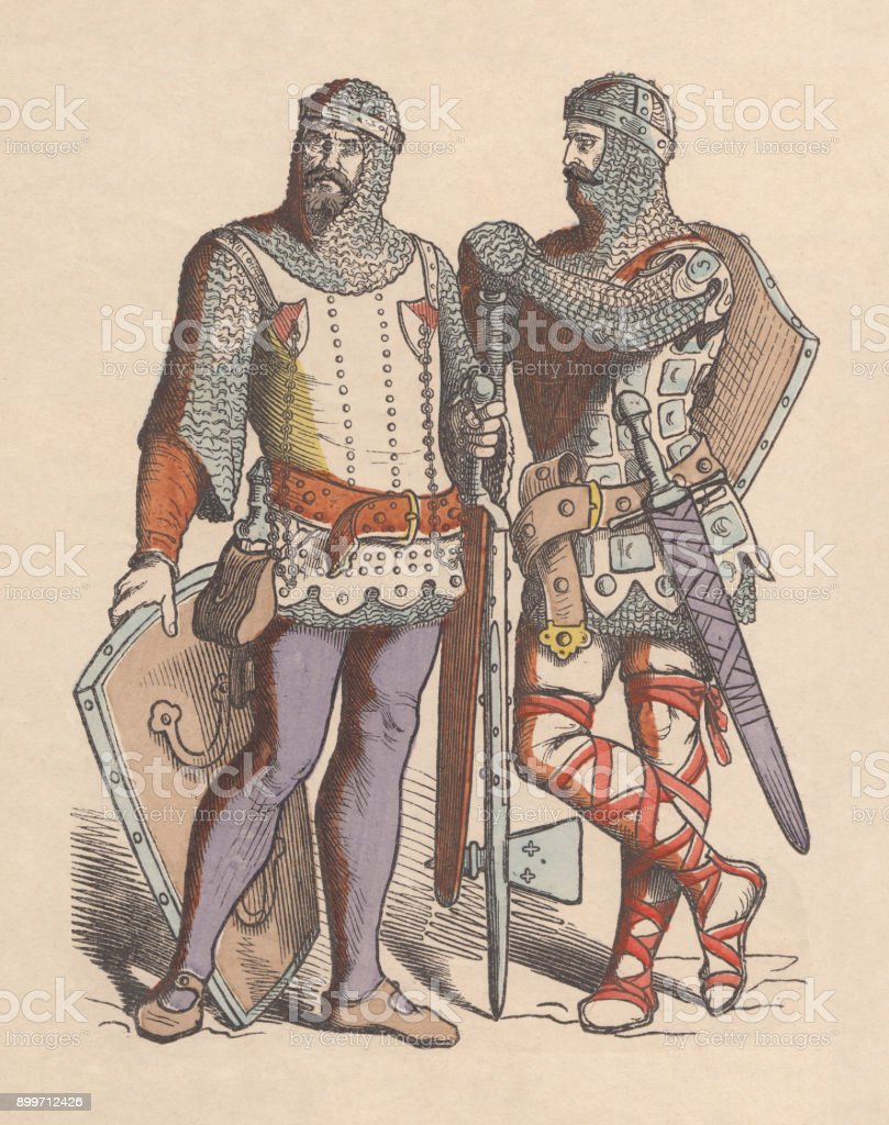 Crusaders, c. 13th century, hand-colored wood engraving, published c. 1880 vector art illustration