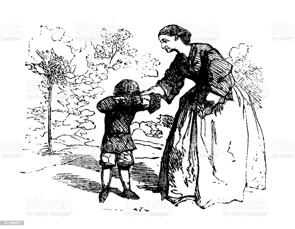 Crying boy with woman illustration
