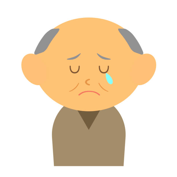 crying grandfather - old man crying clip art stock illustrations, clip art, cartoons, & icons