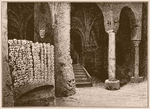 Crypt La Trinità della Cava commonly known as Badia di Cava, is a Benedictine territorial abbey located near Cava de' Tirreni, in the province of Salerno, southern Italy