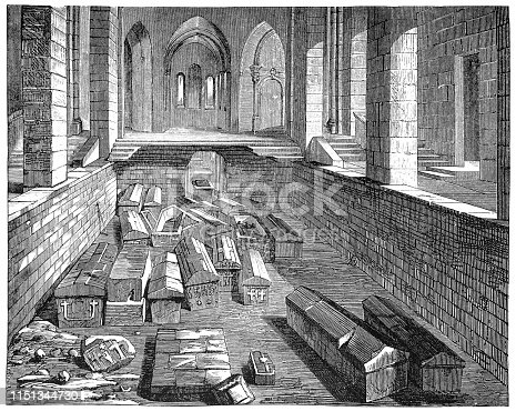 Illustration of a Crypt of the old St. Genevieve church in Paris with meroving coffins