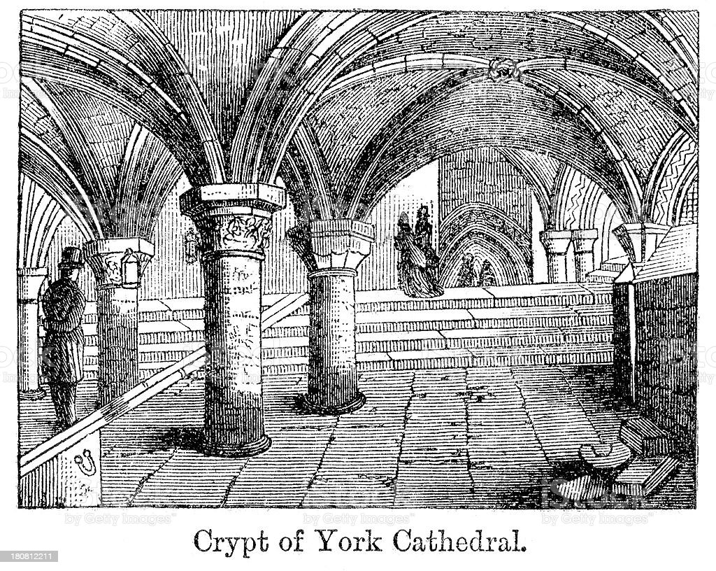 Crypt of York Cathedral royalty-free stock vector art
