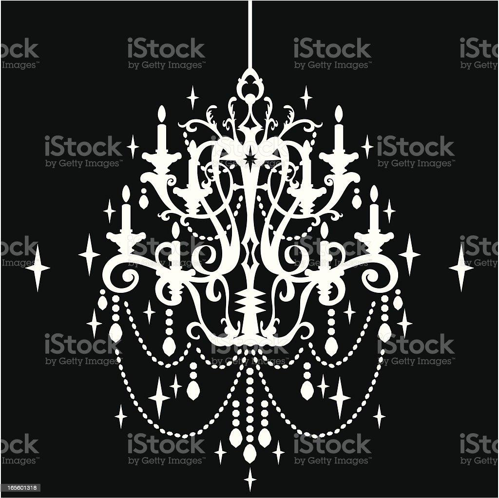 Crystal Chandelier Silhouette vector art illustration
