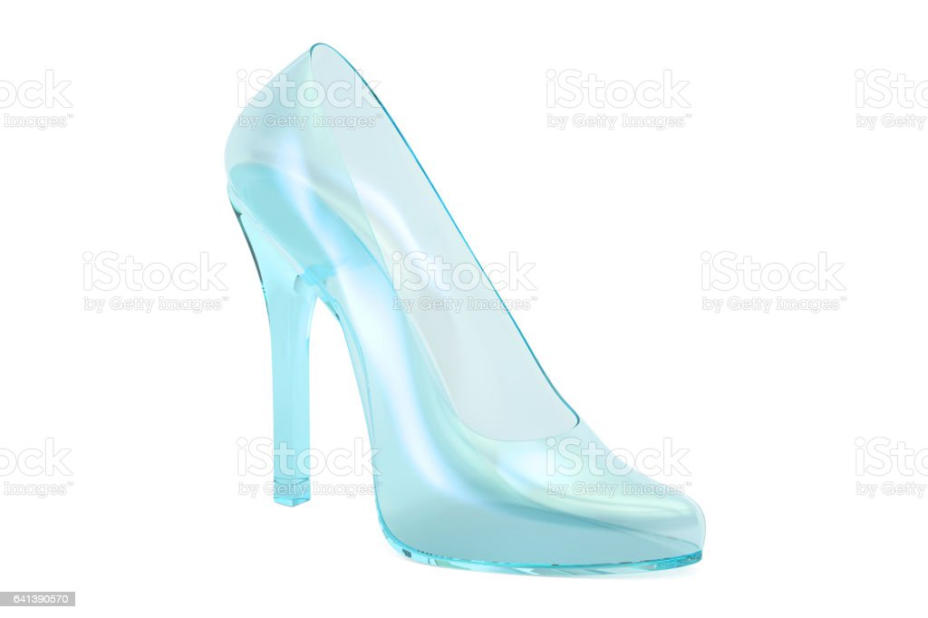 crystal high heel, glass slipper. 3D rendering isolated on white background vector art illustration