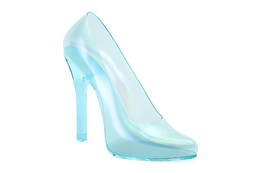 Crystal High Heel Glass Slipper 3d Rendering Isolated On White Background Stock Illustration - Download Image Now