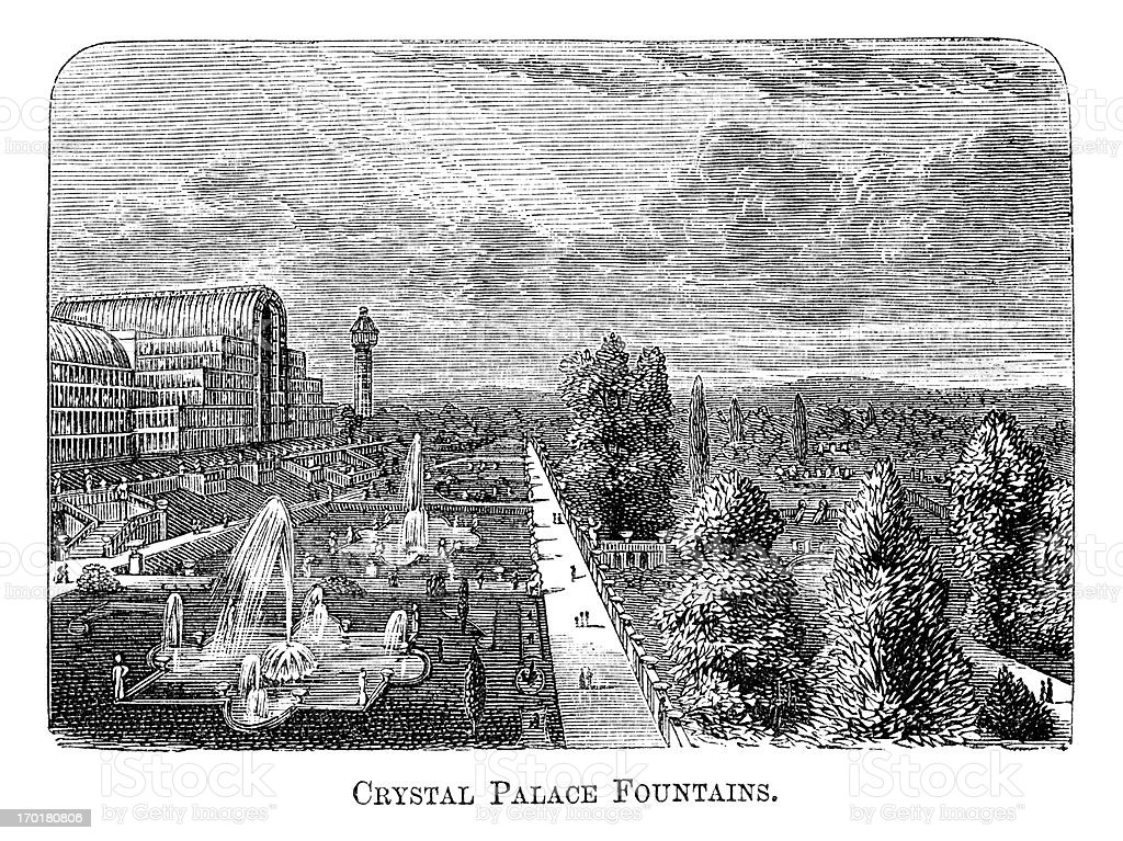 Crystal Palace fountains, Sydenham (1871 engraving) vector art illustration