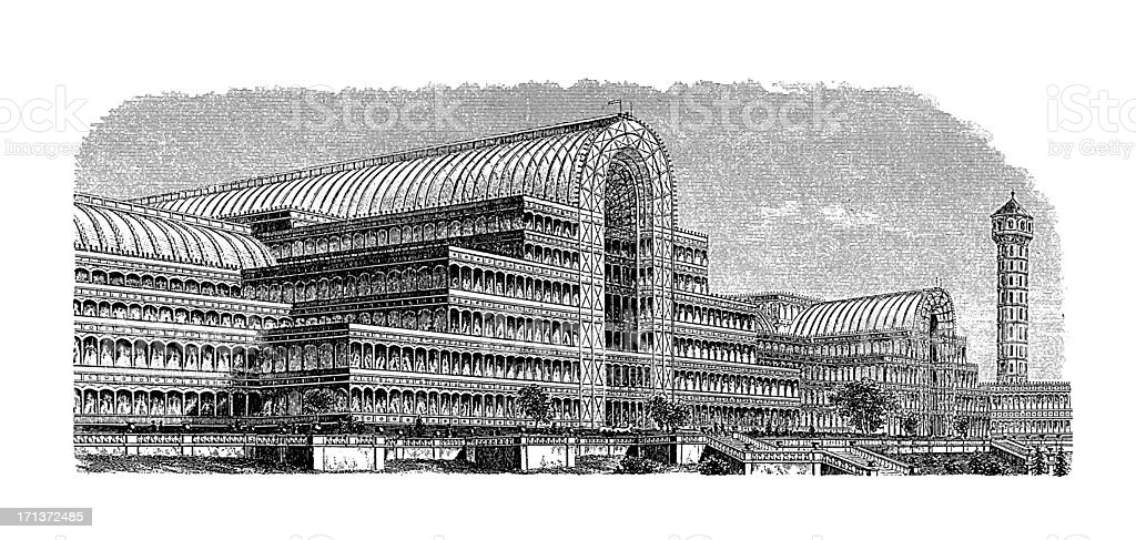 Crystal Palace, London, UK | Antique Architectural Illustrations vector art illustration