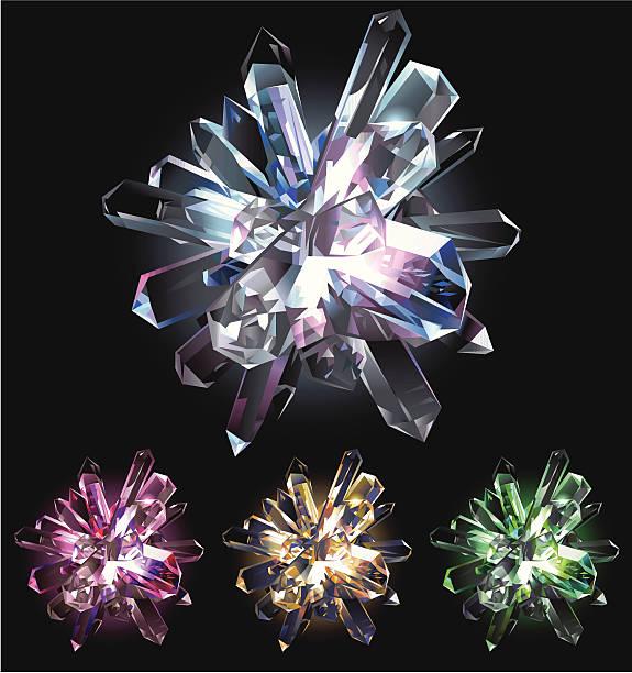 クリスタルの星 - 光 黒背景点のイラスト素材/クリップアート素材/マンガ素材/アイコン素材
