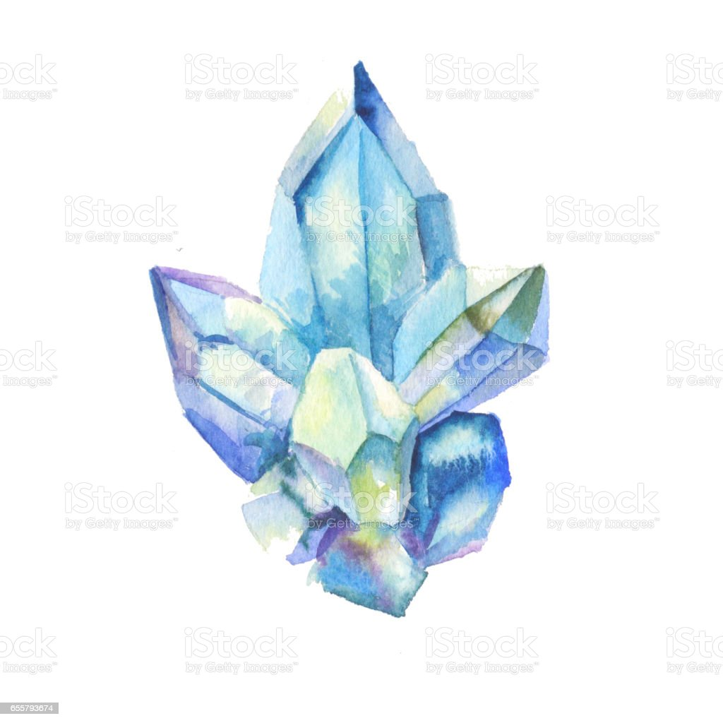 Crystal watercolor stock vector art more images of for Paintings of crystals