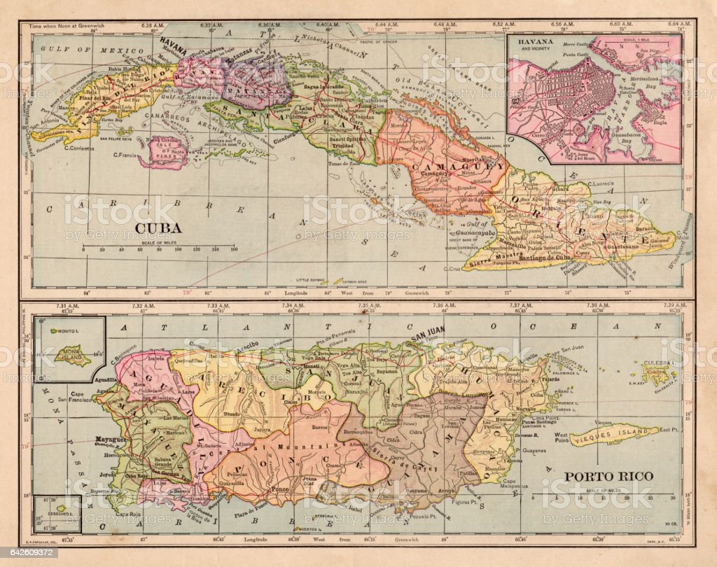 Cuba and puerto rico map 1898 stock vector art more images of cuba and puerto rico map 1898 royalty free cuba and puerto rico map 1898 stock gumiabroncs Images