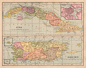 Cuba and Puerto Rico map 1898