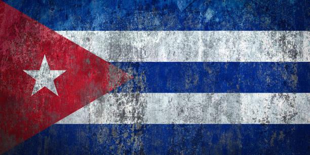 Bandera de Cuba, pintado en una pared - ilustración de arte vectorial