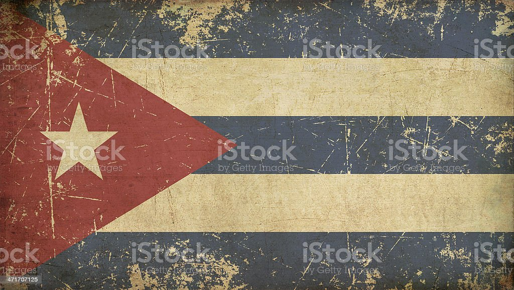 Cuban Aged Flat Flag vector art illustration
